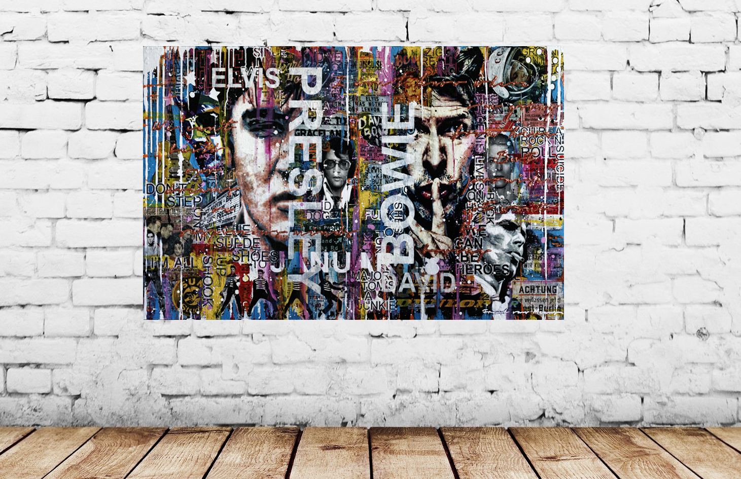 Mixed media artwork with faces of Elvis Presley and David Bowie on a white wall