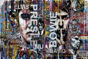 Mixed media artwork with faces of Elvis Presley and David Bowie. Both born on januari 8.