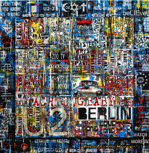 Colourful modern mixed media artwork with lyrics and titles of the U2 album Achtung baby. Painted by Frank van Meurs